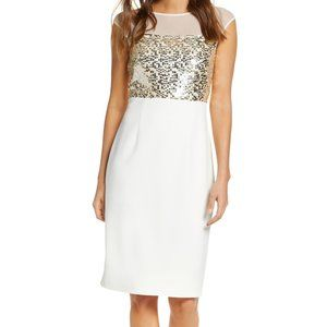 New Vince Camuto Mesh Sequin Sheath Dress